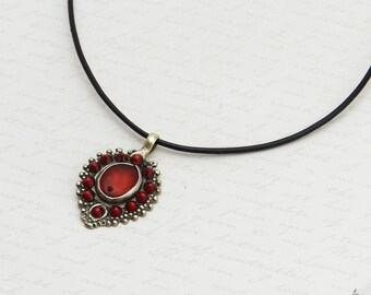 Vintage Kuchi Necklace with original red glass centerpiece - embellished with sparkly Siam Swarovski crystals