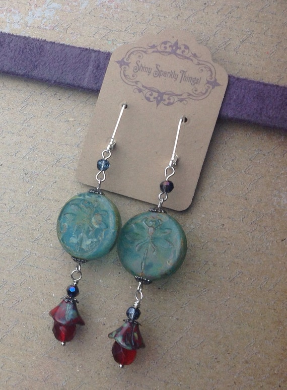 Romantic Dragonfly Czech glass earrings in green and earthy red with picasso finish
