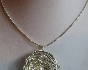 "18"" Bird's Nest Necklace on Silver Chain, necklace, pendant, bird, nest, silver chain, egg"