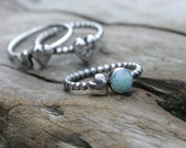Larimar and Rustic Heart Stacking Ring in Fine and Sterling Silver Ball Bead Wire. Size US 7.25 Weathered Heart.