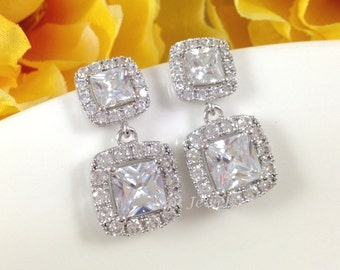 Wedding Cubic Zirconia Earrings - Square Princess Cut Bridal Bridesmaids Dangle Sparkly Sterling Silver Earrings
