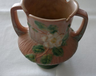 White Rose Trophy Vase by ROSEVILLE Terra Cotta Excellent Mint Condition