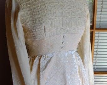 Vintage wedding dress 70s brocade smocked velvet long sleeve wedding dress