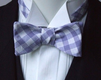 lavender Mens bow tie / purple freestyle bowtie - adjustable self tie - just bow ties for men / I am a maker of bespoke bowties