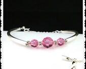 Breast Cancer Awareness Bracelet - Silver Pink Crystal Bracelet