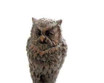 OWL FIGURINE- Small- Carved- Wise- Good Luck- Wisdom- Rustic- Nature- Outdoors- Animals