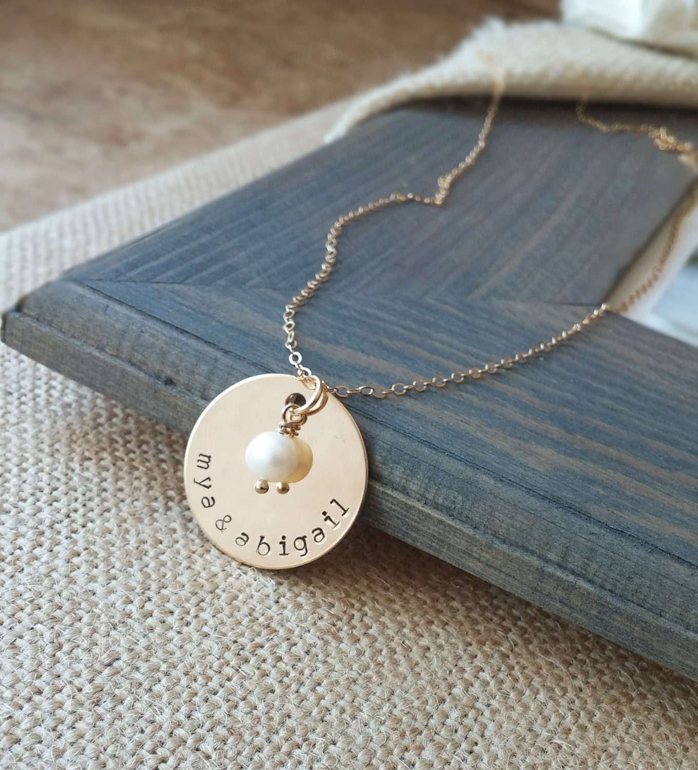 personalized necklace hand stamped gold by. Black Bedroom Furniture Sets. Home Design Ideas