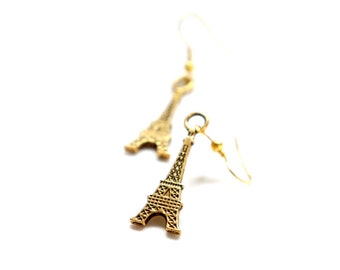 SALE Flat Antiqued Brass Eiffel Tower Dangle Earrings - C0029