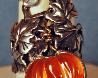 Magic Pumpkin Ring in Fire Opal, Sterling Silver & 18 kt. Gold