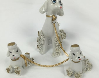 Vintage Poodle Dog Trio from Korea with gold chain