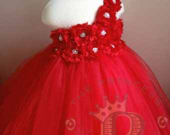 red flower girl dress, red tutu dress, Christmas dress, girls birthday outfit, baby girls birthday outfit, red tulle dress, girls dress