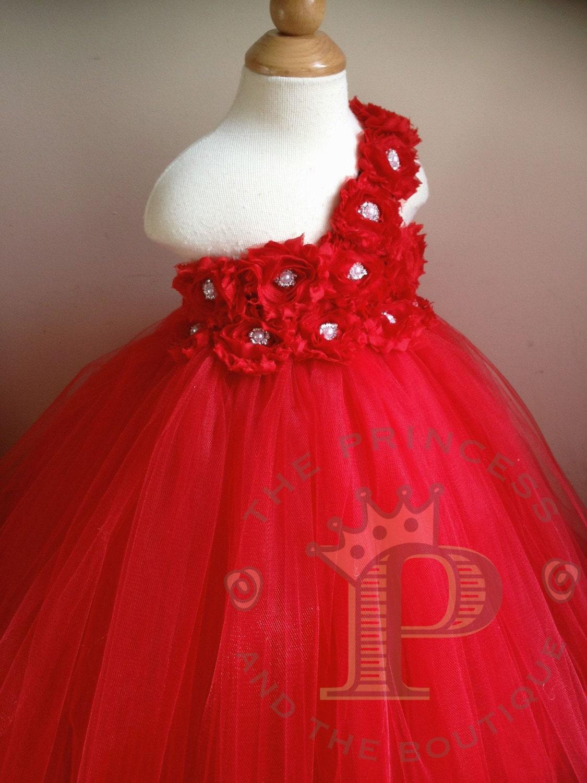 red flower girl dress red tutu dress by Theprincessandthebou