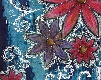 Bright World - Original Mixed-Media on Canvas, 12 x 9