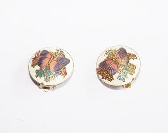 Earrings Purple Pink Butterflies Enamel Round Clip On Vintage Jewelry Jewellery Accessory Woodland Cottage Chic Gift Guide Women