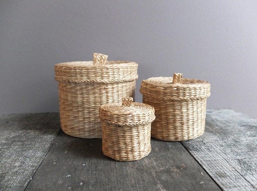 set of 3 vintage nesting baskets with lids storage by refugium. Black Bedroom Furniture Sets. Home Design Ideas