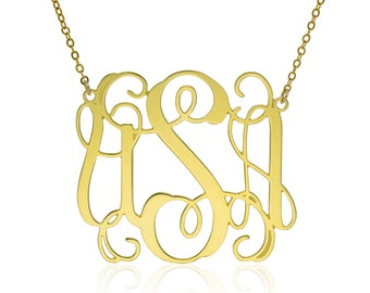 Monogram Necklace 1.25 inch- Personalized Necklace Monogrammed Necklace bridesmaid gift