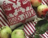 God Jul - Swedish Christmas Pincushion - Instant Download PDF cross-stitch pattern