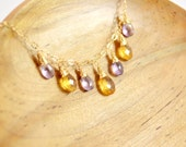 Citrine & Amethyst Necklace, Golden Yellow Citrine and Light Purple Amethyst Wire Wrapped Gold Necklace, Bib Necklace, Gemstone Necklace