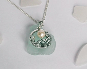 Mermaid necklace. Sea glass jewelry Beach glass necklace Mermaid Jewelry - Sterling Silver