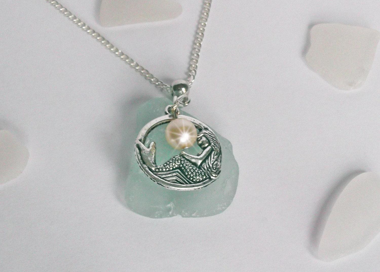 mermaid necklace sea glass jewelry glass necklace