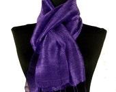 """Thai Raw Pure Silk Scarf  12x62"""" Long Scarf Neck Scarf Handdyed in Purple R30"""