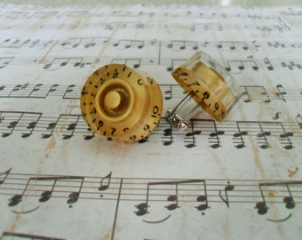 Gold Gibson GUITAR KNOB  Cufflinks / Unique Gift for Him / Musician Gift / Upcycled / Reworked Vintage / Rock Star Gift / Gift boxed