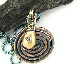 Rustic Copper Jewelry Wire Wrapped Spiral Necklace Hand Forged Copper Necklace  Pearl Pendant Artisan Handmade Earthy