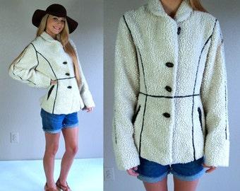 vtg 80s cream FAUX SHEARLING COAT xs/s boho hippie jacket brown leather trim outerwear avant garde