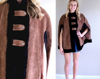 vtg 60s brown FAUX FUR suede leather Military CAPE os coat jacket mod poncho Russian princess cloak outerwear swing boho hippie