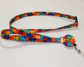 Retractable Badge Reel Breakaway Lanyard - Fabric Retractable Reel Lanyard - Fabric Id Badge Holder - Autism Awareness Lanyard
