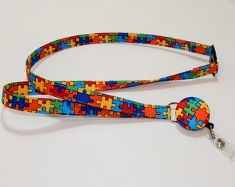 Lanyard With Retractable Badge Holder Autism Awareness