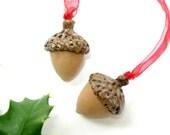 Ceramic Acorn Ornament / Aromatherapy Diffuser / Pottery Acorn / Essential Oils / Woodland Decor / Spa Decor / Christmas Tree / Handmade