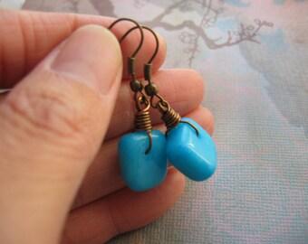 Blue Earrings - Rainbow Jade Earrings - Natural Dyed Chinese Mashan Blue Jade Gemstone Vintage Bronze Earrings