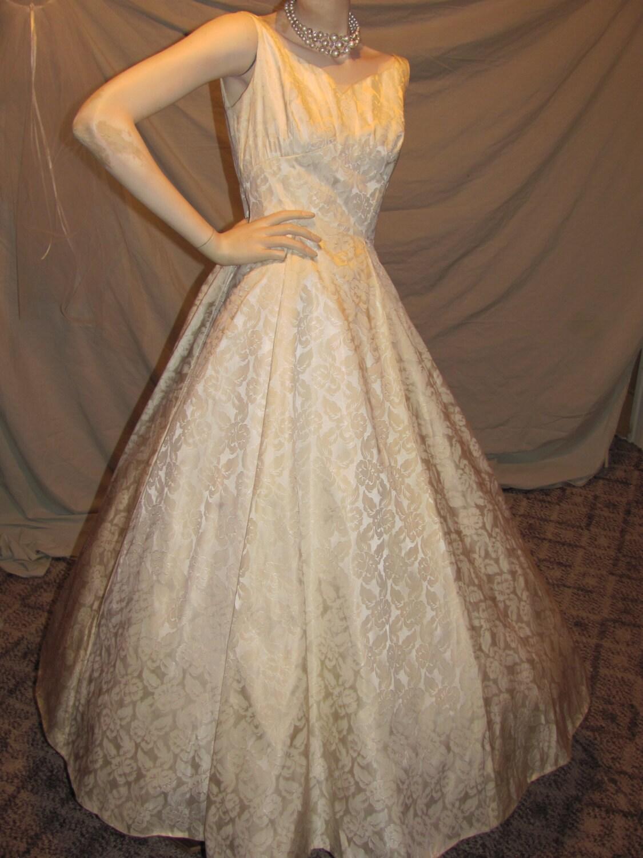 1950 s Wedding Gown Vintage Satin brocade Brides dress