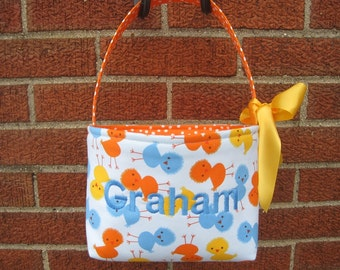 Fabric Easter Basket - Baby Chicks in Sky Blue, Orange and Yellow - Personalization Included - Great Storage Bin