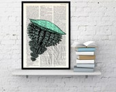 Jellyfish VII  Art Print on Vintage Dictionary page, Wall art ocean life, sea life print, wall decor Jellyfish in Seafoam color BPSL052