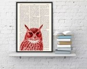 Curious Owl print on Vintage Dictionary Book altered art dictionary page illustration book print  art BPAN079