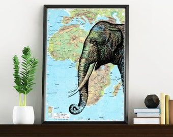 Summer Sale Elephant head Map Print Altered art on upcycled old  maps, Wall art charts and maps wall art decor Original map ANI084