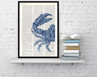 Summer Sale Art print, Blue Crab Print on Vintage Dictionary beach house wall art, art print blue, Wall decor sea life, Seaside art SEA023