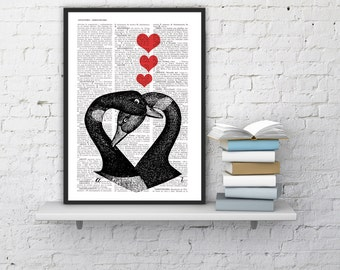 Spring Sale Dictionary Page Upcycled Book Print Upcycled Book Print Vintage Geese in Love  Collage Print BPAN157