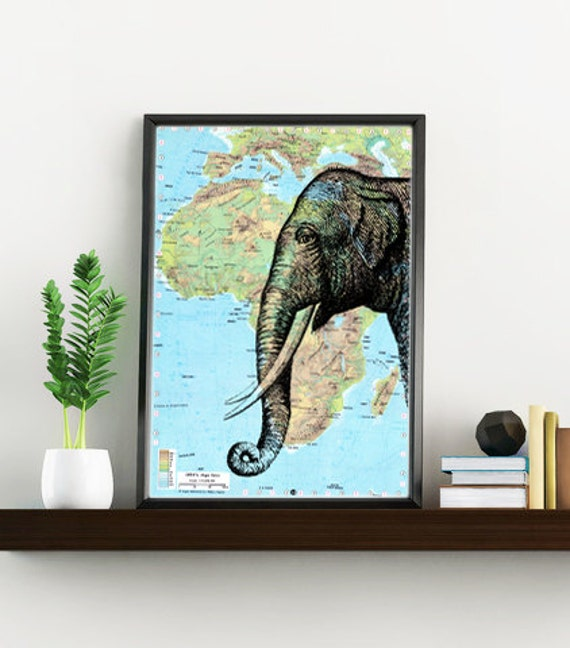 Christmas Sale Elephant head Map Print Altered art on upcycled old  maps, Wall art charts and maps wall art decor Original map ANI084