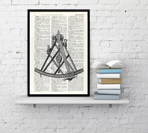 Art print Vintage Sextant illustration Book Print on Dictionary page- Nautical tools Print - wall art print decor SEA090