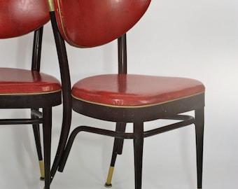 SALE Pair of Retro Red Vinyl Naugahyde Dinette Chairs Mod Atomic Black Brass Legs Fifties 1950's