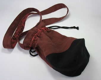 Women's Hemp Messenger Bag Drawstring Bag Black and Brownish Red Marsala Handbag OOAK Gifts for Women
