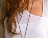 Garden Owlette-Czech Glass and Porcelain Beaded Charm Necklace-Brass Necklace-Owl Necklace