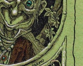 Mad Hatter Alice in Wonderland hand embellished print on wood green art illustration