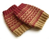Hand Knitted Patterned Fair Isle Boot Cuffs - Boot Toppers, Leg Warmers - Natural Wool