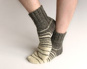 Striped Hand Knitted Woolen Socks - 100% Natural Organic - Warm Winter Clothing