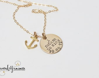 Refuse to Sink - Personalized Gold Necklace - Anchor Charm - Personalized Jewelry - Date - Overcome - Strength -Custom - Engraved - Monogram