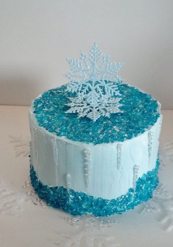 Frozen Cake Decor Uk : Items similar to Snowflake Frozen Icicles Fake Cake Photo Props with Rock Candy, Christmas ...